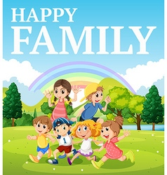 Family playing in the park vector