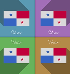 Flags panama set of colors flat design and long vector