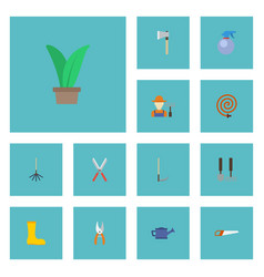 flat icons garden hose tools grower and other vector image