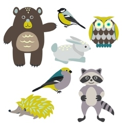 Forest cartoon animals isolated on white for kids vector image vector image