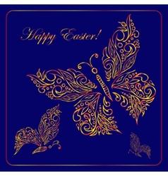 Greeting card with golden metallic butterflies vector