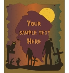 Halloween poster with zombie silhouettes vector