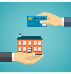 Hand with credit card and hand with house vector image vector image