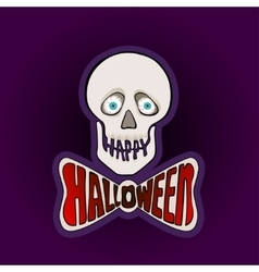 Happy Halloween sticker with skull on a purple vector image