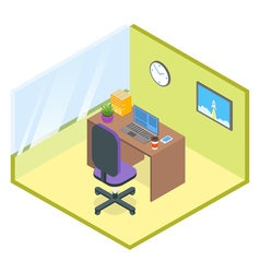 isometric modern office room vector image vector image