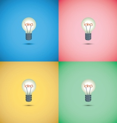 Light bulb idea on colorful background vector image