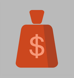 Money bag square flat icon vector