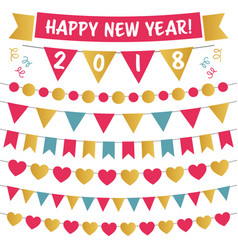 new year 2018 isolated bunting set vector image
