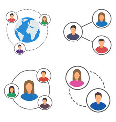 people network icons set people connection set vector image
