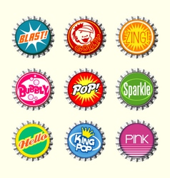 retro bottle cap designs 1 vector image