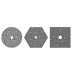 Set of 3 maze - labyrinth on white background vector