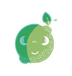 Silhouette kawaii nice shy lemon fruit vector