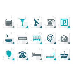 stylized hotel and motel icons vector image vector image