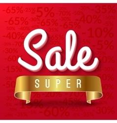 Super sale mega sale red banner with golden vector image vector image