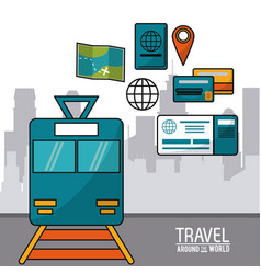 Travel around the world train passenger ticket vector