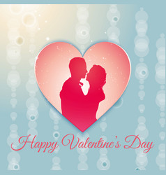 Valentines day background with a couple silhouette vector