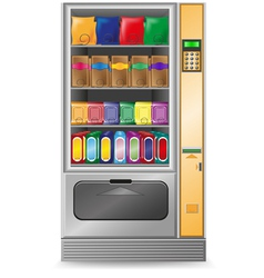 Vending snack is a machine isolated on white backg vector
