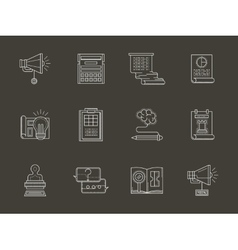 Web development flat white line icons vector image
