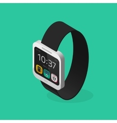 White smart watch isometric style with black vector image vector image