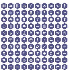 100 lotus icons hexagon purple vector