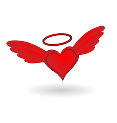 Heart with wings and halo vector