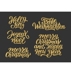 Christmas and new year lettering set vector