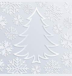 White paper christmas tree with snowflakes vector