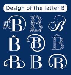 Design of the letter b calligraphic elegant line vector