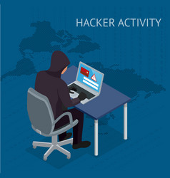 isometric internet hacker attack and vector image