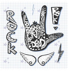 Rock hand sign silhouette print grunge zentangle vector