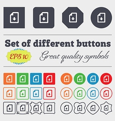 Import download file icon sign big set of colorful vector