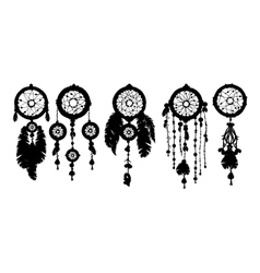 5 dreamcatchers silhouettes with feathers vector image