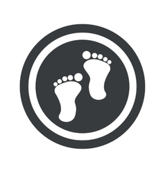 Round black footprint sign vector