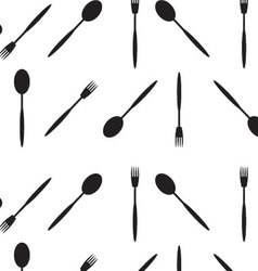 Pattern black white spoon and fork vector image