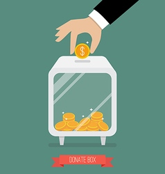 Hand insert coin into donate box vector image