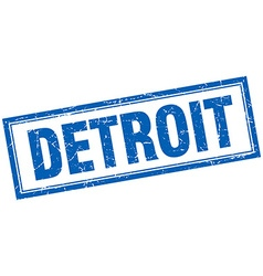 Detroit blue square grunge stamp on white vector