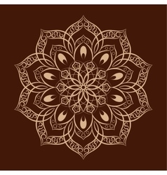 Flower mandala over dark brown vector