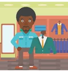 Man holding suit jacket in clothing store vector
