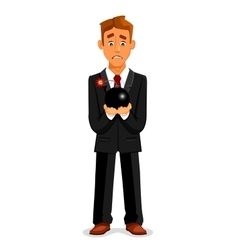 Cartoon businessman with scared look holding bomb vector