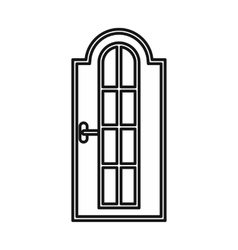 Arched wooden door with glass icon vector