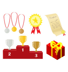 a set of awards for the winner presents and vector image