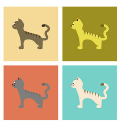 Assembly flat icons cartoon cat vector