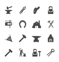 Blacksmith icons set vector