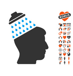 brain shower icon with dating bonus vector image vector image