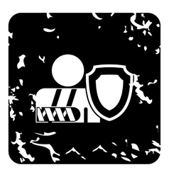 Broken hand and safety shield icon grunge style vector