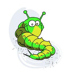 caterpillar cartoon hand drawn image vector image