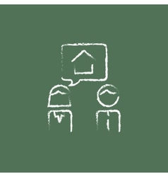 Couple dreaming about the house icon drawn in vector