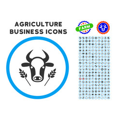 cow and wheat agriculture rounded icon with set vector image vector image