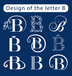design of the letter b calligraphic elegant line vector image