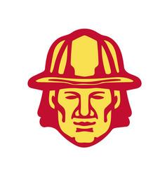 Fireman head front retro vector